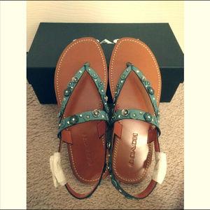 Coach Hudson Tea Rose Leather Thong Sandals-Marine